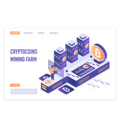 cryptocurrency mining farm bitcoin financial vector image