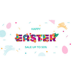 easter sale banner paper cut text lettering vector image