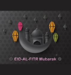Eid al fitr background islamic arabic lantern and vector