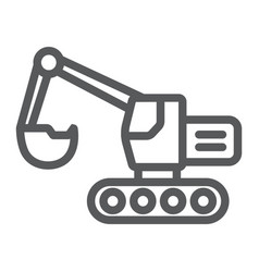 Excavator line icon transport and machine digger vector