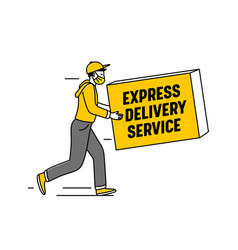 Express delivery service logo with courier carry vector
