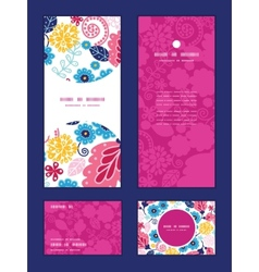 Fairytale flowers vertical frame pattern vector