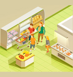 Family grocery shopping supermarket isometric view vector