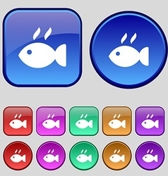 Fish dish Icon sign A set of twelve vintage vector image