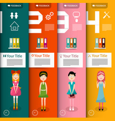 four steps infographics with women and icons vector image