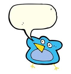 Funny cartoon robin with speech bubble vector