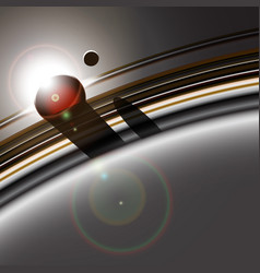 gas giant ring system and its moon interacting vector image