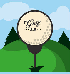 golf club ball on tee landscape vector image