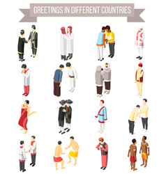 Greetings in different countries icons vector