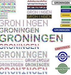 Groningen text design set vector