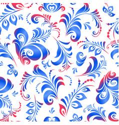 gzhel russian folk painting seamless pattern vector image