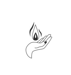 Hand hold a fire drop in vector