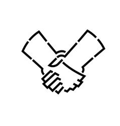handshakes stencil logo vector image