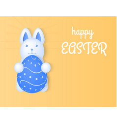 happy easter bunny holding an egg light yellow vector image