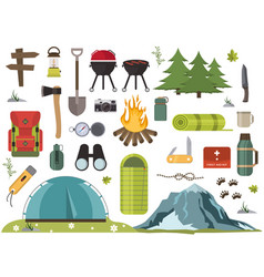 Hiking camping equipment campfire base camp vector