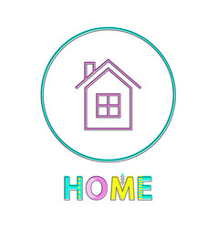 Home page bright linear round icon thin outline vector