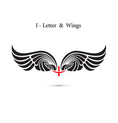 I-letter sign and angel wingsmonogram wing logo vector