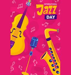 International jazz day cartoon music instrument vector