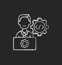 It department chalk white icon on black background vector