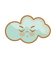 kawaii angry cloud icon vector image