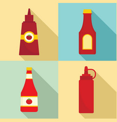 ketchup icon set flat style vector image
