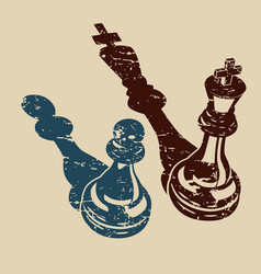 King and a pawn in retro vector