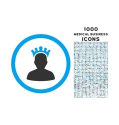King Rounded Icon with 1000 Bonus Icons vector image