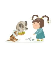 Little girl punishing dogs vector