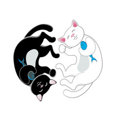 logo with two black and white cats forming circle vector image
