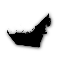 Map of the United Arab Emirate with shadow vector