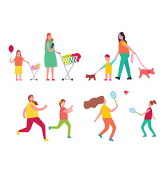 mother and child activities vector image