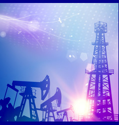 oil tower with derrick crane on science blue vector image