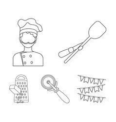 Paddle for the oven cutter for pizza cook vector