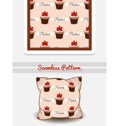 Pillow Strawberry Cupcakes vector image