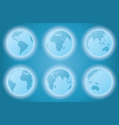 Planet earth set different continents view vector