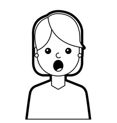 portrait surprised young woman face expression vector image