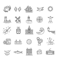portugal travel icons set vector image