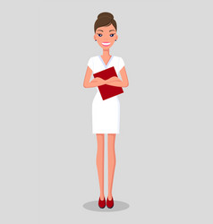 pretty young slim woman in business clothes vector image