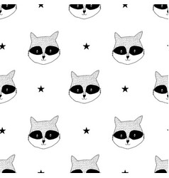 Raccoon seamless pattern vector