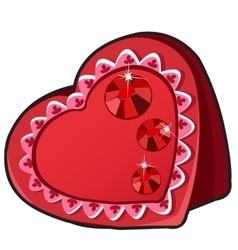 Red box in heart shape with ruby jewels vector