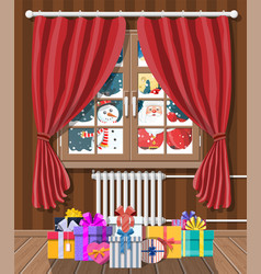 santa and snowman looks in living room window vector image