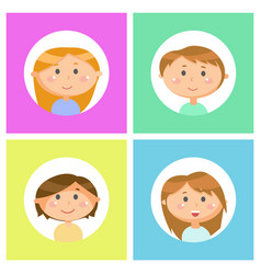 school children avatars boys and girls portraits vector image