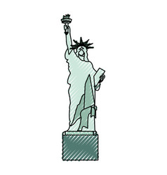 Scribble statue of liberty cartoon vector
