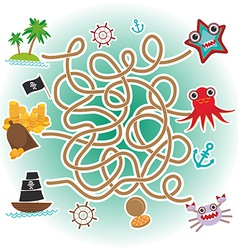 sea animals boats pirates sea objects collection vector image