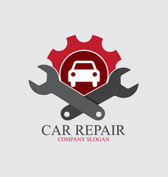 Service car logo with gear and two wrench vector