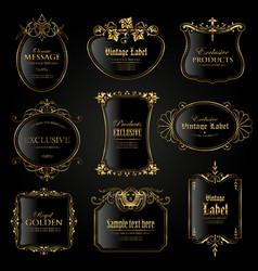 Set exclusive dark gold-framed labels vector