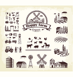 set happy farm organic production cartoon style vector image