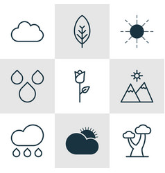 Set of 9 nature icons includes love flower oak vector