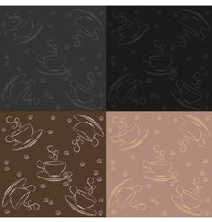 set of seamless pattern with cup of coffee vector image