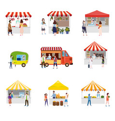 Set outdoor street food festival canopy tent vector